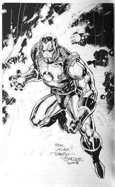 Iron Man, in Alex Gonzalez's Jim Lee Comic Art Gallery Room - 384679 Comic Book Artists, Comic Book Characters, Marvel Characters, Comic Artist, Comic Character, Comic Books Art, Jim Lee Batman, Black And White Comics, Black And White Artwork