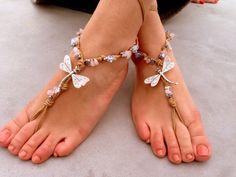 ON SALE Barefoot sandals. beach sandal, beaded sandals, , sea star boho barefoot sandles, crochet barefoot sandals, , yoga, anklet  hippie s