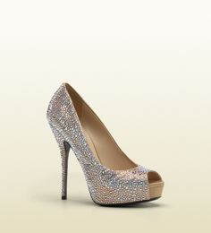 Gucci - 'sofia etoile' high heel open-toe platform with strass embroidery. 284078F14002601