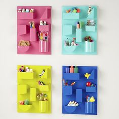 The Land of Nod: Kids Storage: Colorful Iron Wall Organizers in Shelf & Wall Storage from Crate and Kids. Saved to House ideas. Kids Storage Shelves, Decorative Storage Bins, Wall Storage, Craft Storage, Bathroom Storage, Shelf Wall, Storage Ideas, Iron Storage, Wall Hooks