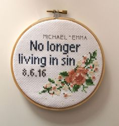 Embroidery Cross Stitches No Longer Living in Sin Custom Funny Cross Stitch Wedding or Anniversary Hand Embroidery Stitches, Cross Stitch Embroidery, Embroidery Patterns, Funny Embroidery, Embroidery Materials, Knitting Stitches, Cross Stitch Designs, Cross Stitch Patterns, Wedding Cross Stitch