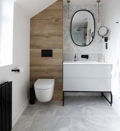 Ensuite bathroom renovation of dreams! This tiny bathroom (around was tran… Ensuite bathroom renovation of dreams! This tiny bathroom Marble Bathroom Floor, Wood Bathroom, Bathroom Black, Bathroom Flooring, Bathroom Mirrors, Bathroom Cabinets, Bathroom Lighting, Industrial Bathroom, Bathroom Faucets
