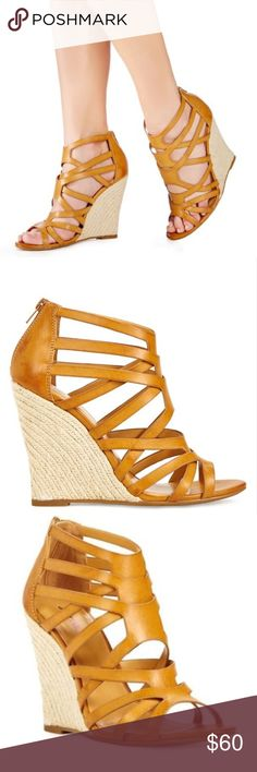 Twilia Cognac Caged Espadrille Wedges Excellent condition. Fast shipping. True to size. No box. Shoes Wedges