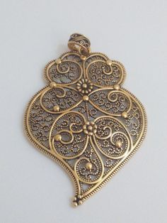 Filigree pendant bronze brass portuguese 8cm charm by ROYALcraftPT
