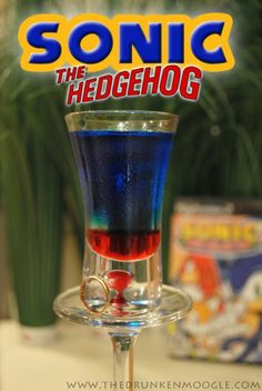 Sonic the Hedgehog:  Ingredients:  1 part grenadine  2 parts Menthomint Schnapps  4 parts Blue Curacao  Directions: Pour in the grenadine first. Then layer the Mentholmint schnapps and Blue Curacao on top, in that order. Take it down faster than the Blue Blur himself