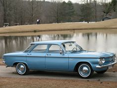 1961 Chevrolet Corvair 700 sedan, this was GM's response to the VW beetle. It as truly innovative with a rear mounted, air-cooled 6 cylinder engine. It was later replaced by the more powerful Monza and the sports model Corsa, both of which were later  singled out for their safety hazards. The 700, with its smaller engine and lower center of gravity, was a safer version that never quite caught on. My dad had one that he drove for 10 years without problems.