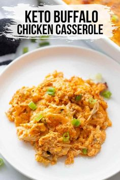 This quick and easy keto buffalo chicken casserole is a simple weeknight dinner you will love! Made with cauliflower rice and chicken, you won't miss the carbs! / keto recipes / low carb recipes / keto casseroles / low carb casseroles / #keto #lowcarb