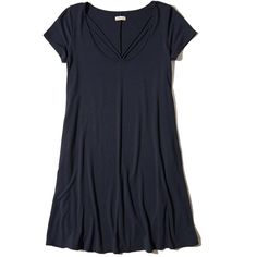 Hollister Strappy Swing T-Shirt Dress (730 CZK) ❤ liked on Polyvore featuring dresses, navy, navy blue t shirt dress, blue t shirt dress, t-shirt dresses, scoop neck dress and scoop neck t shirt dress