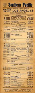 Southern Pacific train schedule, Arcade Depot, March 1, 1906. Schedule shows train stops daily at Chatsworth Park Station and Nordhoff Station in Zelzah (now Northridge).  West Valley Museum. San Fernando Valley History Digital Library.