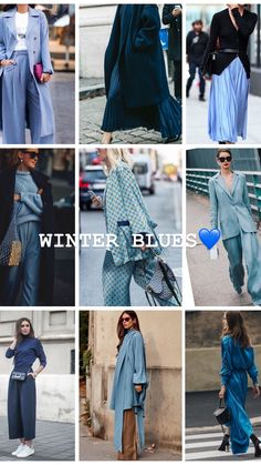 Blue is a winter staple colour. I've created a moodboard inspired by blue. Blue Fashion, Autumn Fashion, Womens Fashion, Casual Street Style, London Fashion, Style Me, Personal Style, Fashion Tips, Fashion Trends