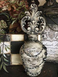 Antique White Decorative Bottle by PremiereDesign on Etsy Diy Bottle, Bottle Vase, Wine Bottle Crafts, Wine Bottles, Secret Santa, Decorated Liquor Bottles, Crown Royal Bottle, Antique Quotes, Recycled Glass Bottles