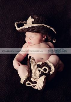 Baby Cowboy Hat and Boots Chocolate Brown And Tan Newborn and beyond. $50.00, via Etsy.