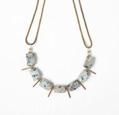 New - Mint Sesame Jasper and Vintage Brass Stick Drop Bead Necklace on a Vintage Brass Snake Chain