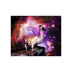 Cute Hipster Llama Collage Poster Paper Print Wall Art Living Room Home Office Decor 20 x 16 * Click on the image for additional details.