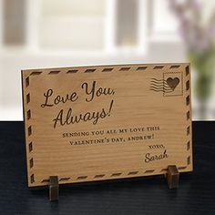 Give a unique love gift this Valentine's Day with an Engraved Love You Always Wood Postcard for them to display. Personalized Valentine's Day Presents include Free personalization. Wood Burning Crafts, Wood Burning Patterns, Wood Burning Art, Unique Valentines Day Gifts, Love You To Pieces, Personalized Gifts For Her, Love You Mom, Puzzle Pieces, Mother Day Gifts