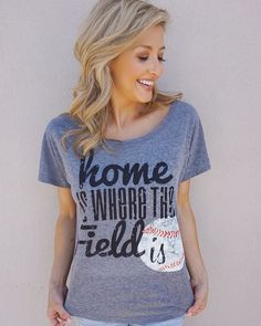 Our #HomeIsWhereTheFieldIs vintage baseball tee (XS-XXL) is our most popular tee right now! Model is wearing an XS, order one size up if you want it a little more relaxed. Shop now, link in bio! #LiveLoveGameday #Baseball #BaseballSeason ⚾️⚾️⚾️