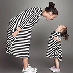 Sannysis Mädchen Schwarz weiß gestreiften Kleid Familie Kleidung (90, schwarz & weiß)