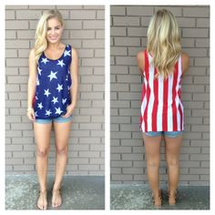 American Flag Knit Tank