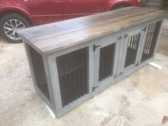 L-XL Dog Kennel Double-Den 1 Easy Cleaning by AgainstTheGrainSlab http://www.relaxingdoggy.com/product-category/dog-houses-crates-kennels/