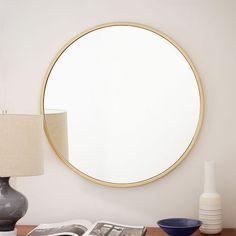 249 x Metal Framed Round Wall Mirror - Antique Brass
