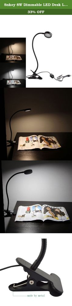 Snkey 8W Dimmable LED Desk Lamp, 3 Dimmable Light Color(Cold&Warm&Natural), Brightest Clip On Light, 2-Level Dimmer Book Light with US Adapter(Black). Why you need a clip-on lamp? Because the clip-on lamp can be used in bedroom,study room, and is mounted to the bedhead or desk. Our lamp use strong gooseneck to ensure the lamp-head don't sag due to the gravity. Product Description: Material: shell adopts aluminum alloy and PC The lamp shape colors: black and white You can choose white in…