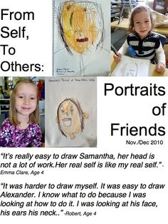 Reggio: Examining Self Portraits – A Journey Into Inquiry Based Early Learning Learning Stories, Play Based Learning, Stories For Kids, Early Learning, Reggio Emilia Classroom, Reggio Inspired Classrooms, Portfolio Kindergarten, Kindergarten Art, Classroom Community