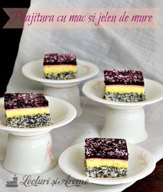 prajitura cu mac crema de vanilie si jeleu de mure Cake Recipes, Dessert Recipes, Desserts, Romanian Food, Romanian Recipes, Food Cakes, Pretty Cakes, Nutella, Bakery