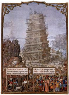 Gerard Horenbout, Grimani Breviary: Tower of Babel, Biblioteca Nazionale Marciana, Venice  ew820  +  (lyghtmylife)