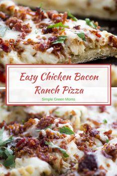 Easy Chicken Bacon Flatbread Ranch Pizza Recipe #bacon #pizza #dinner #dinnertime #recipes #recipeideas #ad #yummy #delicious #recipe #recipeideas #comfortfood #easydinner #dinnerideas via @simplegreenmoms