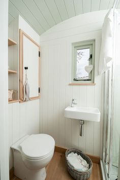 Small Cabin Bathroom, Cabin Bathrooms, Blackdown Shepherd Huts, Shepherds Hut, Retro Caravan, Small Storage, Dream Decor, Small Living, Small Spaces