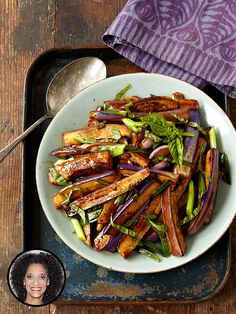 Carla Hall's Hot and Sweet Eggplant stir fry