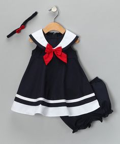 So cute! Navy Nautical Dress Set from Good Lad on #zulily!