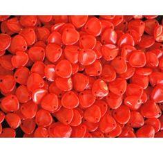 50pcs Rose Petal 7x8mm Pressed Czech Glass Beads Red Opal