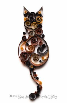 Quilled Scrollwork Caramel Calico Cat