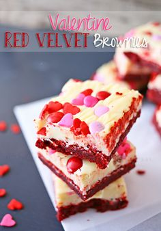 Everything you would expect from a red velvet brownie- but topped with a white chocolate frosting layer & sprinkled with Valentine hearts & M&M's. The perfect treat for any Valentine on your list.