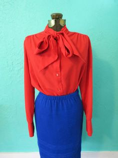 Red Button Up Blouse with Ascot Bow Collar by Lee by AdoredAnew