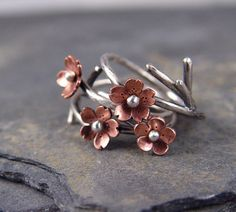 Cherry Blossom Branch Adjustable Ring Rounded petals