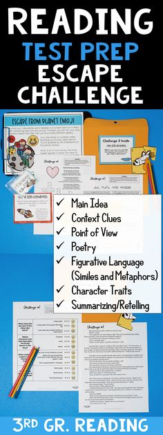The perfect test prep for grade reading! This escape room challenge is emoji themed and covers: Main Idea Context Clues Point of View Poetry Figurative Language (similes and metaphors) Character Traits Summarizing/Retelling Reading Test, Third Grade Reading, Reading Skills, Teaching Reading, Guided Reading, Teaching Ideas, Learning, Similes And Metaphors, Math Challenge