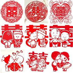 thousand color brides]The happy character paper-cut window decoration 2 attire wedding happy character wall pastes the window to paste Che Ximen happy many patterns to be possible to elect  $0.65