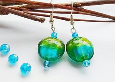 Glass Earrings, Turquoise Earrings, Lime Green Earrings, Boho Earrings, Gift For Her, Bead Drop Earrings, Summer Earrings, Holiday Earrings