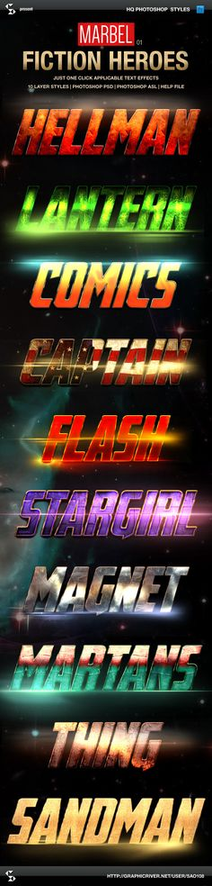 Blockbuster Heroes Style Text Effects 01 (photoshop layer styles, just one click applicable text effects)