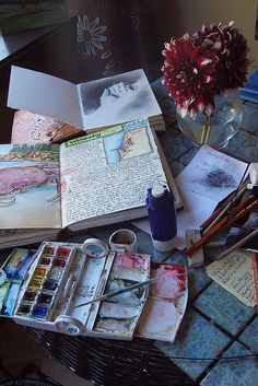 watercolors and sketchbooks