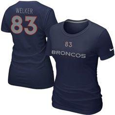 Nike Wes Welker Denver Broncos Womens Name and Number Slim Fit T-Shirt - Navy Blue