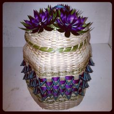 Hexagon shaped basket with teal and purple by, Mohawk basket maker, Ann Mitchell.