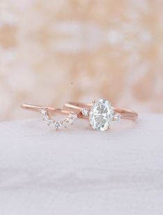 Oval Moissanite Engagement Ring set Rose gold engagement ring curved wedding band unique Bridal Jewelry Promise Anniversary gift for women - Wedding rings - Engagement Rings Wedding Rings Simple, Wedding Rings Rose Gold, Wedding Rings Vintage, Rose Gold Engagement Ring, Engagement Ring Settings, Bridal Rings, Vintage Engagement Rings, Unique Rings, Wedding Jewelry