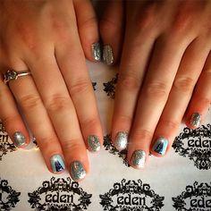 Christmas tree, sparkle nails glitter shellac,sliver blue