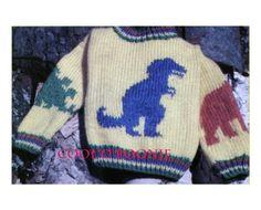 Vintage Knitting Pattern Kids Boys Girls Dinosaur Sweater | Etsy Dinosaur Jumper, Girl Dinosaur, Yarn Bee, Star Quilt Patterns, Knit In The Round, Sweater Knitting Patterns, Vintage Knitting, Cute Pattern, Yarn Colors