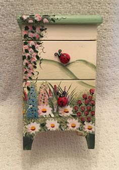 Ladybug Jewelry Box Hand Painted Wood Trinket by BullfrogHollow