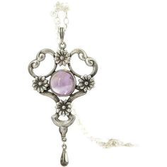 Antique Sterling Amethyst Pendant Necklace Arts and Crafts Pendant... ($400) ❤ liked on Polyvore featuring jewelry, necklaces, amethyst pendant, antique pendant necklace, sterling silver necklace pendant, sterling silver pendants and pendant necklace