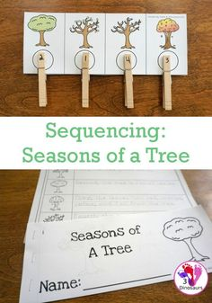Sequencing: Seasons of a Tree Sequencing Cards, Sequencing Activities, Science Activities For Kids, Preschool Science, Spring Activities, Science Ideas, Biology Experiments, Biology Lessons, Spring Books